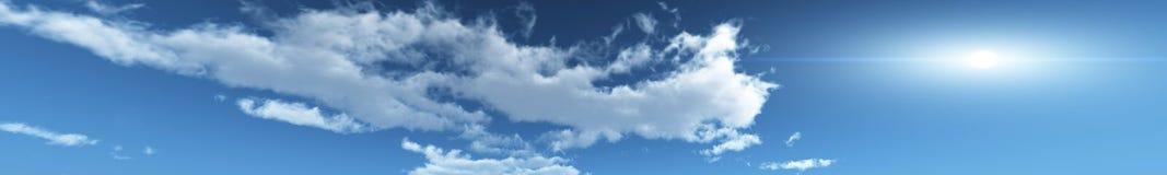 De horizon van de panoramahemel, wolken, stock foto's