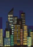 De horizon van de stad bij nacht Stock Foto's