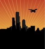 De horizon van de stad bij zonsondergang of zonsopgang Stock Foto's