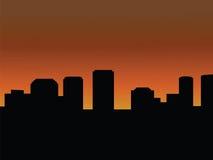 De horizon van de stad bij zonsondergang of zonsopgang Royalty-vrije Stock Foto