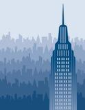 De Horizon van de stad in Blauw Royalty-vrije Stock Afbeelding