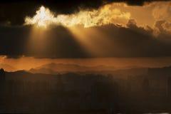 De horizon van de Stad van Hongkong stock afbeeldingen