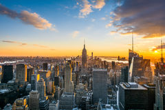 De horizon van de Stadsmanhattan van New York bij zonsondergang, mening vanaf Bovenkant van de Rots, Rockfeller-Centrum, Verenigd royalty-vrije stock afbeeldingen