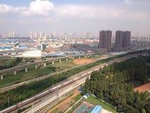 De horizon van de Wuhanstad Stock Afbeeldingen