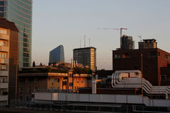 De horizon van de zonsondergangstad Stock Foto's