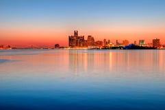 De Horizon van Detroit, Michigan bij Nacht Royalty-vrije Stock Afbeeldingen