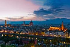 De horizon van Florence bij zonsondergang Royalty-vrije Stock Foto