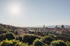 De horizon van Florence, Italië, mening van Piazzale Michelangelo stock afbeeldingen