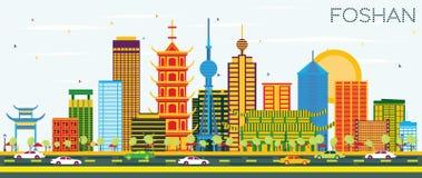 De Horizon van Foshanchina met Kleurengebouwen en Blauwe Hemel royalty-vrije illustratie