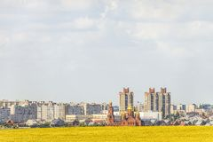 De horizon van de Gubkinstad, Belgorod-gebied, Rusland stock afbeelding