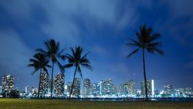 De horizon van Hawaï bij nacht Stock Foto