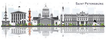 De Horizon van heilige Petersburg Rusland met Gray Buildings Isolated  vector illustratie
