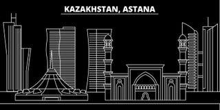 De horizon van het Astanasilhouet Kazachstan - de vectorstad van Astana, kazakh lineaire architectuur, gebouwen Astanareis royalty-vrije illustratie