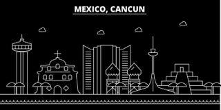 De horizon van het Cancunsilhouet Mexico - de vectorstad van Cancun, Mexicaanse lineaire architectuur, gebouwen Cancunreis stock illustratie