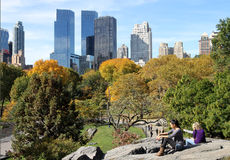 De horizon van het Central Park Stock Foto's