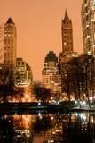 De horizon van het Central Park en van Manhattan, de Stad van New York Stock Afbeeldingen