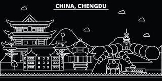 De horizon van het Chengdusilhouet China - de vectorstad van Chengdu, Chinese lineaire architectuur, gebouwen Chengdureis royalty-vrije illustratie