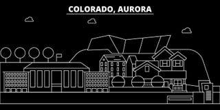 De horizon van het dageraadsilhouet De V.S. - Dageraad vectorstad, Amerikaanse lineaire architectuur, gebouwen De illustratie van vector illustratie