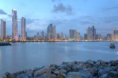 De horizon van het de Stadscentrum van Panama en Baai van Panama, Panama, Centrale Am Royalty-vrije Stock Afbeeldingen