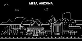 De horizon van het Mesasilhouet De V.S. - Mesa vectorstad, Amerikaanse lineaire architectuur, gebouwen De illustratie van de Mesa vector illustratie