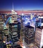 De horizon van het Times Square van Manhattan van de Stad van New York Stock Afbeeldingen