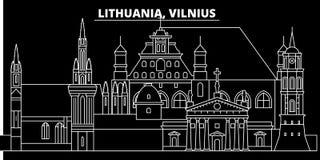 De horizon van het Vilniussilhouet Litouwen - de vectorstad van Vilnius, Litouwse lineaire architectuur, gebouwen Vilniusreis vector illustratie