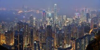 De horizon van Hongkong van de Piek van Victoria bij nacht Stock Foto