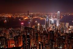 De horizon van Hongkong van 's nachts de Piek van Victoria stock fotografie