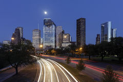 De Horizon van Houston bij Nacht, Texas, de V.S. Stock Foto
