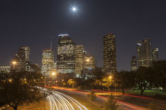 De Horizon van Houston bij Nacht, Texas Stock Fotografie