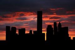 De horizon van Houston bij zonsondergang stock illustratie