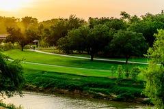 De horizon van Houston bij zonsondergang Royalty-vrije Stock Afbeeldingen