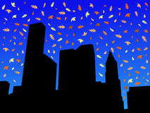 De horizon van Houston in de herfst vector illustratie