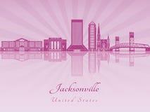 De horizon van Jacksonville in purpere stralende orchidee Royalty-vrije Stock Foto's