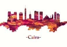 De horizon van Kaïro Egypte in Rood vector illustratie