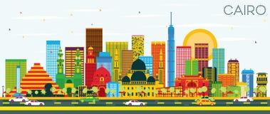De Horizon van Kaïro met Kleurengebouwen en Blauwe Hemel vector illustratie