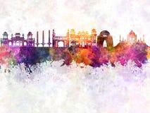 De horizon van karachi in waterverf Stock Foto's