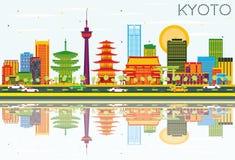 De Horizon van Kyoto met Kleurengebouwen, Blauwe Hemel en Bezinningen vector illustratie