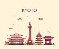 De horizon van Kyoto, vector lineaire de stijlstad van Japan stock illustratie