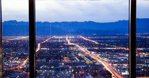 De horizon van Las Vegas bij zonsondergang - de Strook - Satellietbeeld van de Boulevard Nevada van Las Vegas royalty-vrije stock afbeelding
