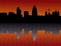 De horizon van Londen bij zonsondergang Royalty-vrije Stock Foto