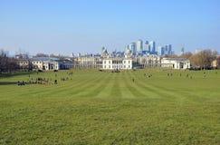 De Horizon van Londen die van het Park van Greenwich wordt gezien Stock Afbeeldingen