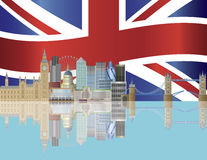 De Horizon van Londen met de Illustratie van de Vlag van Union Jack Stock Afbeelding