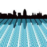 De horizon van Londen met tekst Stock Afbeelding