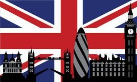 De horizon van Londen met vlag Stock Foto's