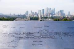 De Horizon van Londen plateert cityscape stock fotografie