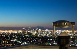 De horizon van Los Angeles bij zonsopgang Stock Foto