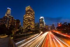 De horizon van Los Angeles van de binnenstad, Californië, de V stock afbeeldingen