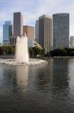 De horizon van Los Angeles met fontein Royalty-vrije Stock Fotografie