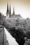 De horizon van Luxemburg in sepia stock fotografie